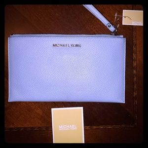 NWT Michael Kors slate blue wristlet